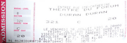 Ticket Stub Tour 1993 Montreal Forum July 30th DURAN DURAN WIKIPEDIA