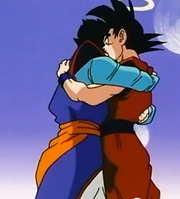 Goku and gohan hugging