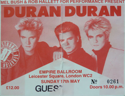 Ticket stub for Duran Duran at The Empire Ballroom, Leicester Square, London wikipedia