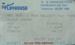 Ticket Duran Duran ticket stub x 2 from Edinburgh 28 & 29 April 1987 wikipedia 29