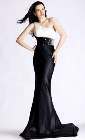 Shoulder White Dress on Image   One Shoulder Black White Long Prom Dress 302x500 Jpg   The