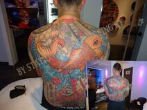 Tattoo Color Full Back Koi fish Lotus flower water