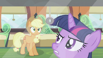 Twilight mad at Shining Armor while Applejack watches her S2E25