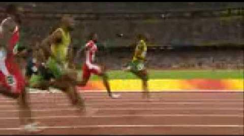 Beijing Olympics Usain Bolt 100m Finals Winner . World Record