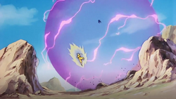 Perfect Cell uses the Perfect Barrier to block Goku's energy blasts