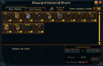 Khazard General Store stock
