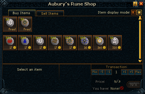 Aubury&#39;s Rune Shop stock