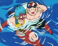 Marron and Krillin swimming