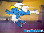 Smurfs Animation Cel Hefty Tackles Smurfette