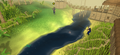 A player fishing in Shilo Village.png
