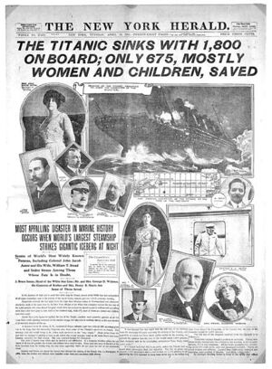 Titanic-New York Herald front page