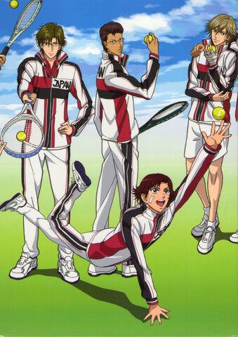 Galeria grupal shin pot - Página 2 339px-Kikumaru_Eiji,_Kite_Eishiro,_Shiraishi_Kuranosuke,_Tezuka_Kunimitsu_in_Shin_Prince_of_Tennis_U-17_Camp_Uniform