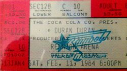 Dallas TX (USA), Reunion Arena wikipedia duran duran concert ticket stub 1984