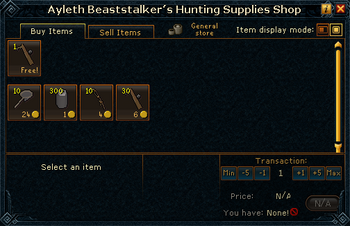 Ayleth Beaststalker's Hunting Supplies Shop stock