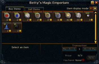 Betty's Magic Emporium stock
