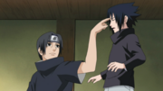 Itachi pokes Sasuke