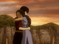 Katara and Zuko hug
