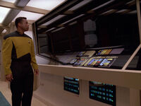 Geordi reflects as interface probe