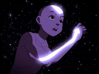 Aang runs to save Katara