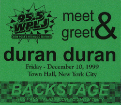 WPLJ Concert, Town Hall, New York wikipedia duran duran 1