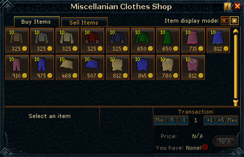 Miscellanian Clothes Shop stock