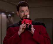 Riker imitates Picard
