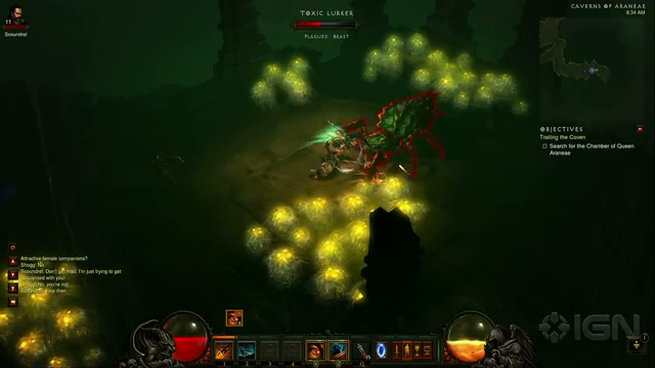Diablo III - Barbarian Class - Caverns of Araneae Gameplay