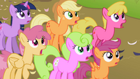 Ponies gasp at Rainbow Dash's confrontation S2E08