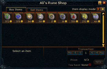 Ali's Rune Shop (Catalytic Runes) stock