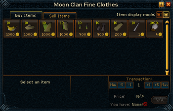 Moon Clan Fine Clothes stock