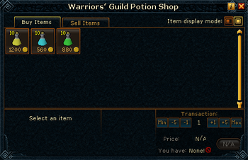 Warriors&#39; Guild Potion Shop stock