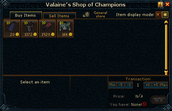 Valaine's Shop of Champions stock
