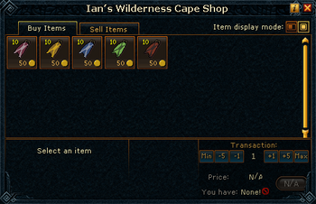 Ian's Wilderness Cape Shop stock