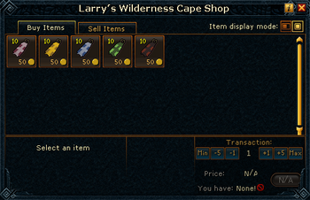 Larry's Wilderness Cape Shop stock