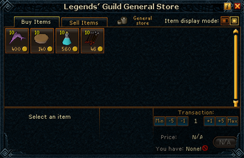 Legends' Guild General Store stock