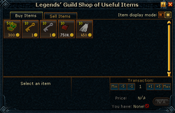 Legends' Guild Shop of Useful Items stock