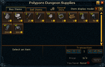 Polypore Dungeon Supplies stock