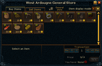 West Ardougne General Store stock