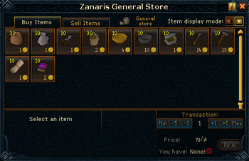 Zanaris General Store stock