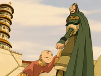Aang begs Fong