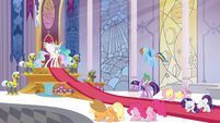 My Little Pony promotional image - the main six bowing to Celestia