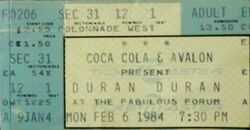 Qqq The Forum, Los Angeles, California (USA) wikipedia duran duran ticket stub