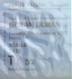 Liverpool empire wikipedia duran duran ticket stub 1982