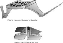 Warp nacelle support saddle and docking latch