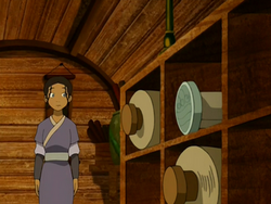 Katara spots a waterbending scroll