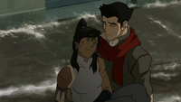 Mako holding Korra