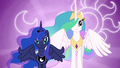 Luna and Celestia with their cutie marks in the background S3E01.png