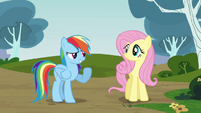 Rainbow greets Pinkie S3E3