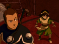 Toph and Sokka atop airship.png