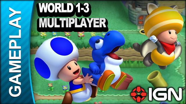 New Super Mario Bros. U World 1-3 Yoshi Hill Multiplayer - Gameplay